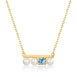 4mm Pearl And Blue Topaz Silver Pendant Jewelry